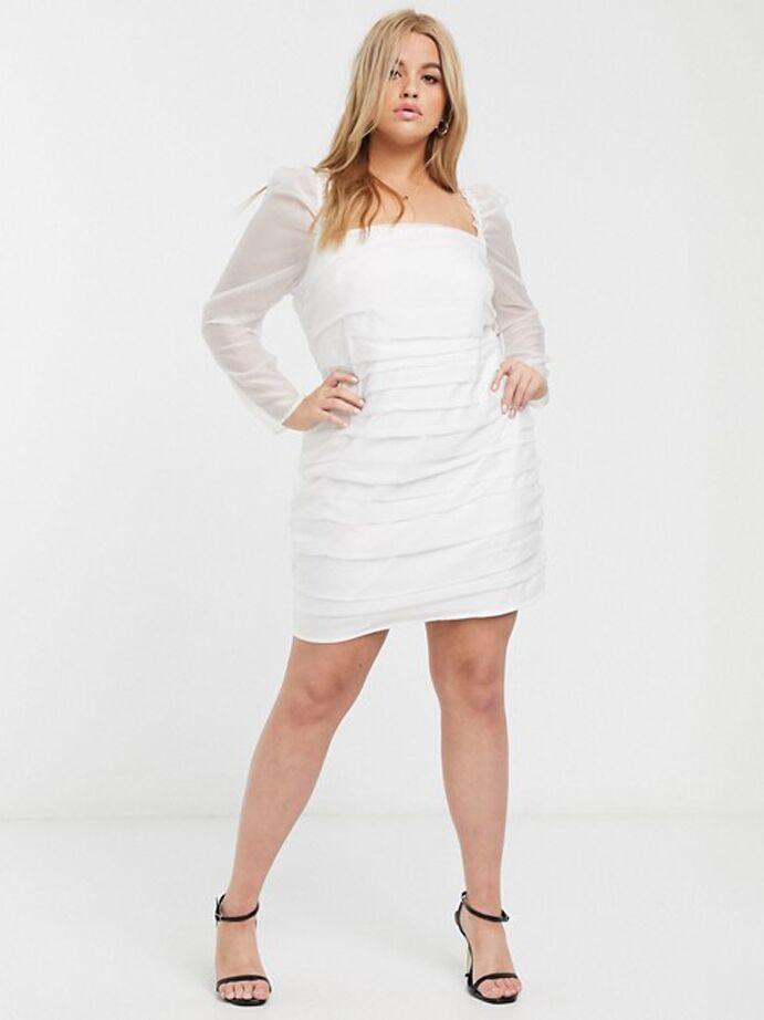 White mini dress with sheer puff sleeves