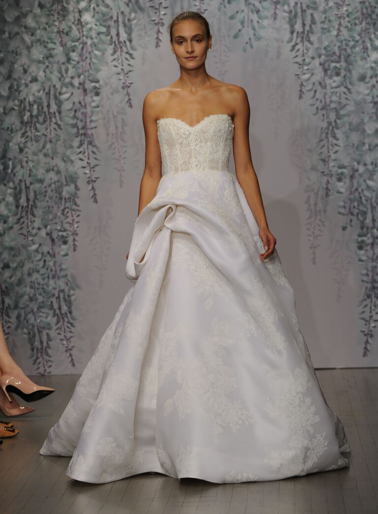 Monique Lhuillier wedding dress Fall 2016 Silk white Re-embroidered lace strapless sweetheart ball gown with rose print hand tufted skirt
