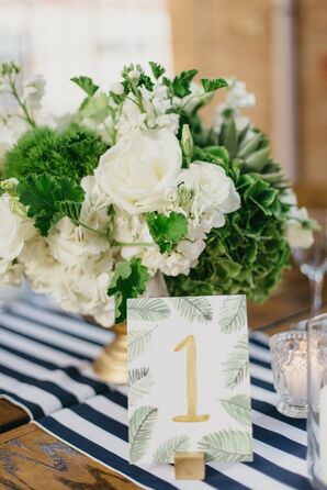 White Flower Centerpieces and Striped Table Runners