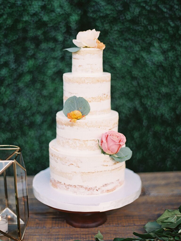 Simple four-tier semi-naked wedding cake