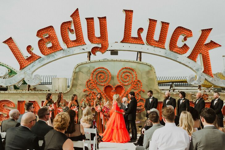 Modern Ceremony and Red Wedding Dress at the Neon Museum in Las Vegas, Nevada