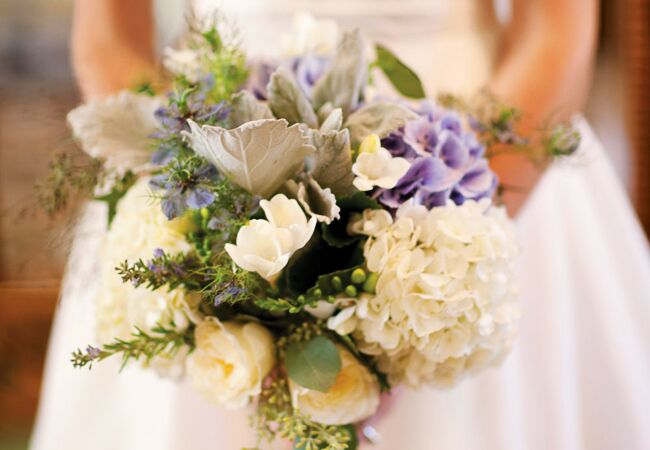 Lush bouquet of hydrangeas, silver leaf and lamb's ears