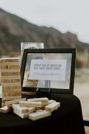 Jenga Puzzle Guest Book Alternative at Texas Wedding
