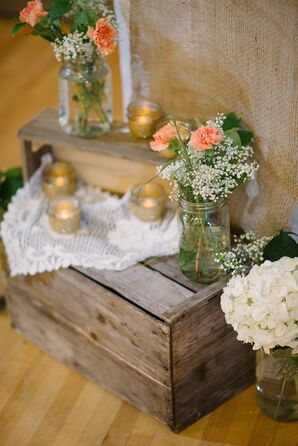 Mason Jar Flower Arrangements and Gold Candles