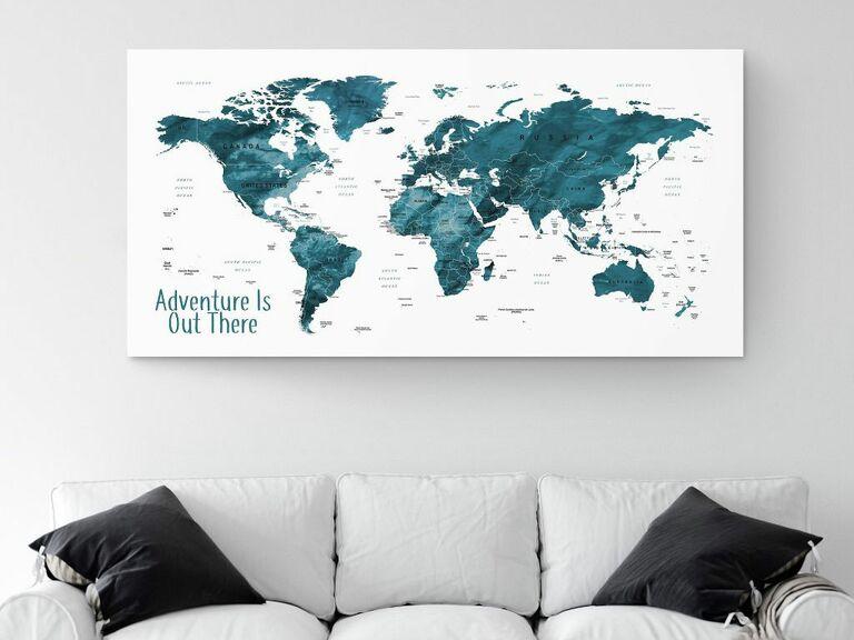 large blue push pin world map