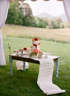 Wedding Cake Table With Handwritten Scroll Table Runner
