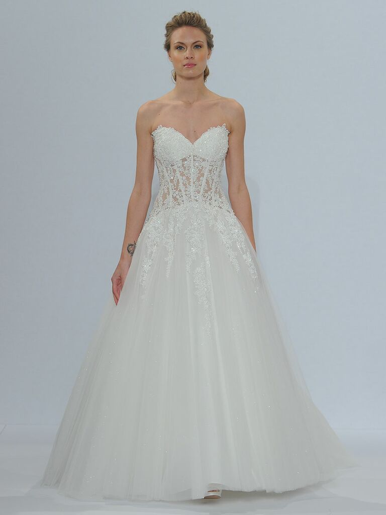 Randy Fenoli Spring 2018 strapless sweetheart full A-line tulle gown with crystal beaded cascading Venice lace appliqués and sheer midriff