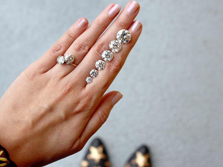 Diamonds Of Different Carat Sizes