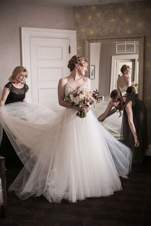 Bride Getting Ready with Mother of the Bride and Bridesmaid