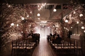 Ceremony at Front & Palmer with Cherry Blossoms and Hanging Lanterns