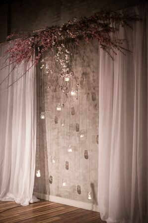 Altar Decor with Hanging Candles in Mason Jars and Cherry Blossoms