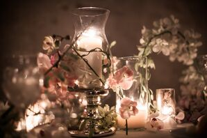 Ceremony Decor with Candles and Pink Orchids