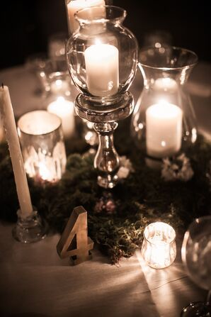 Candle Centerpieces with Moss and Gold Table Number