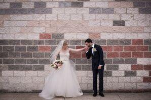 Bride and Groom at Romantic and Urban Philadelphia Wedding