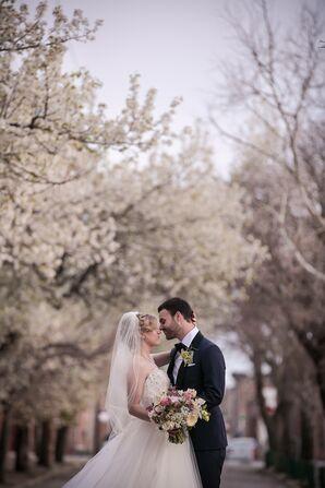 Newlyweds with Philadelphia Cherry Blossoms