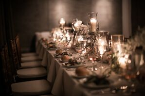 Long Tables with Chiavari Chairs and Candle Centerpieces