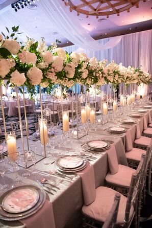 Glamorous Dining Table with Tall Centerpieces and Candles