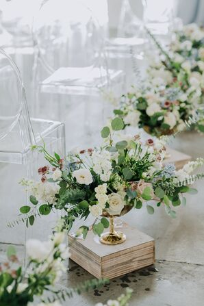 Romantic Rose, Eucalyptus and Stock Aisle Arrangements