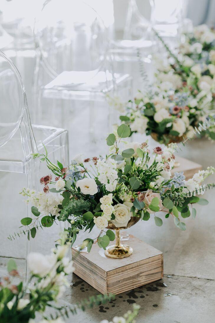 Romantic Rose, Eucalyptus and Stock Aisle Arrangements