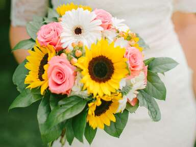 Sunflower, daisy and rose bridal bouquet