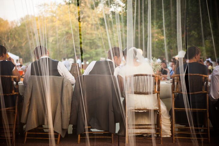 Couple Sitting Behind Tulle Drapery
