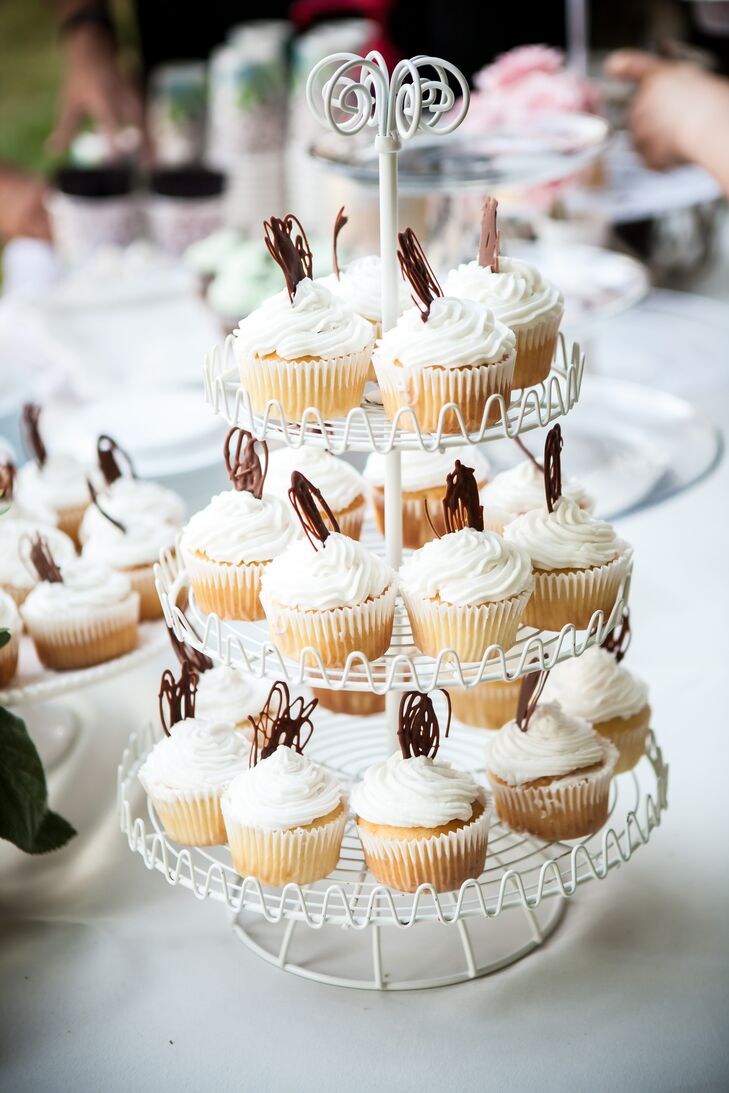 Iced Cupcakes on Glass Stand