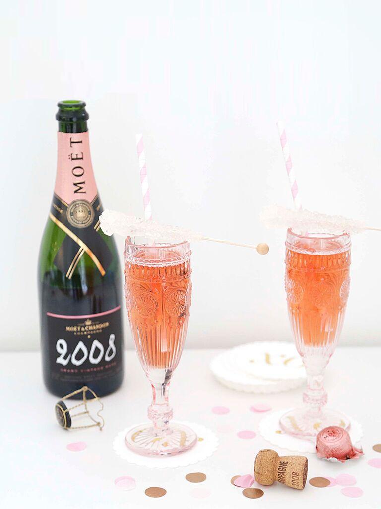 Moet sparkling rosé served in pink Knot Shop flutes