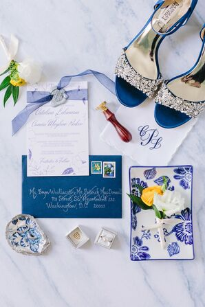 Classic Navy and White Invitations with Calligraphy