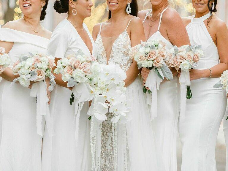 Closeup photo of bridesmaid bouquets