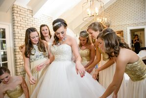 Gold Sequin Bodice Bridesmaid Dresses