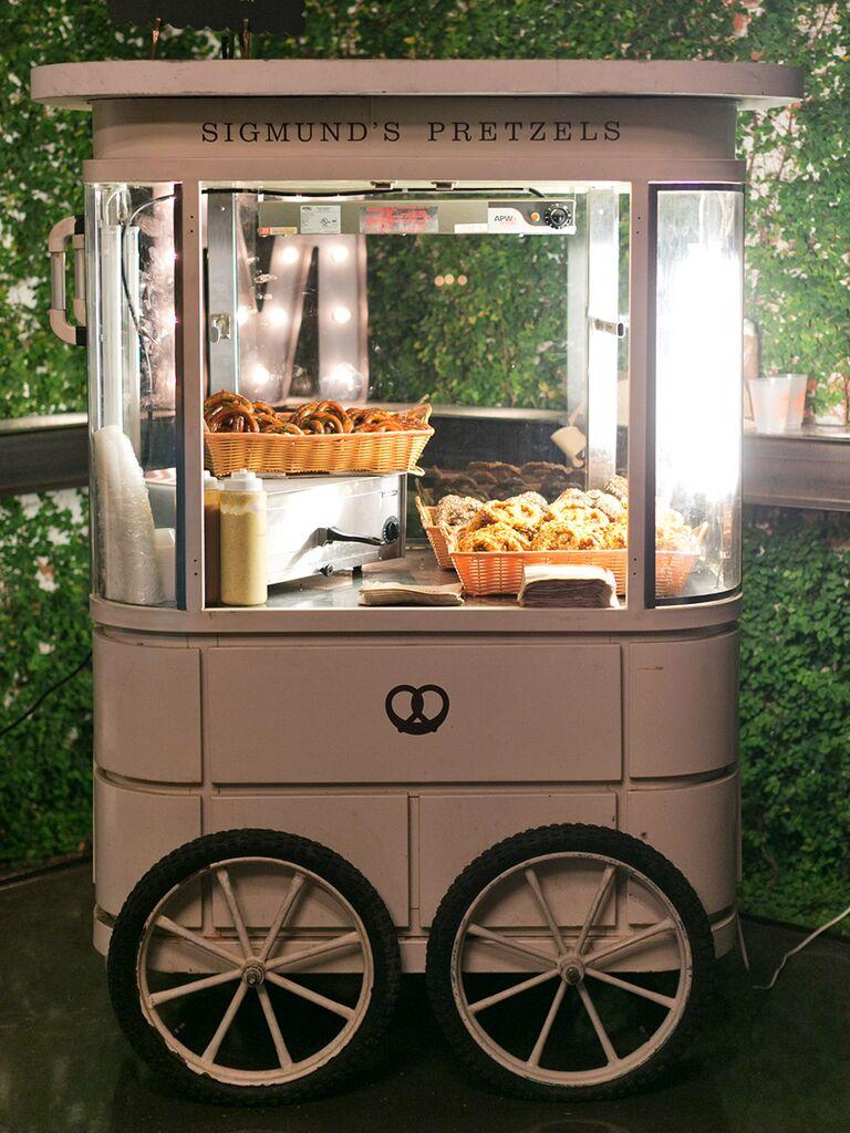 Sigmund's Pretzels cart for a wedding reception idea