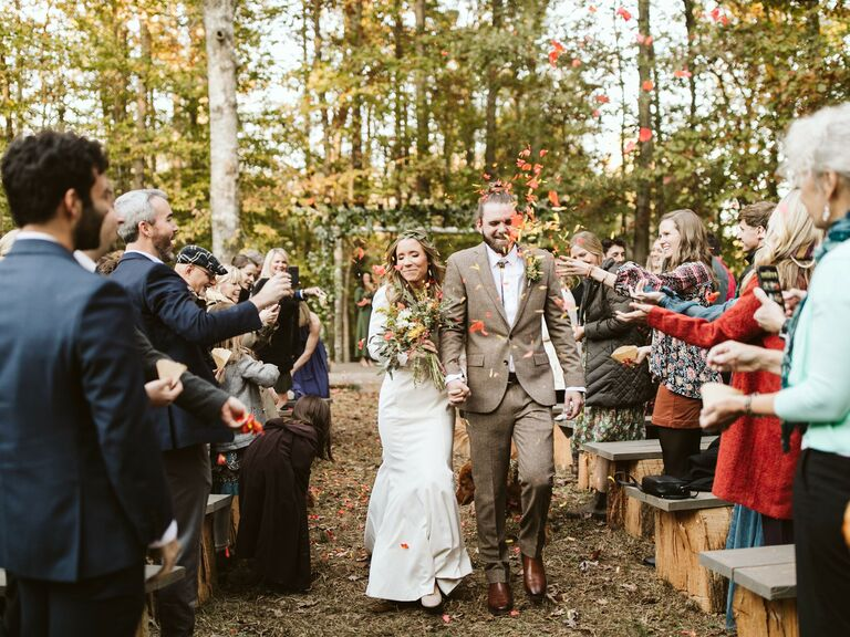 Fall wedding ideas leaves at recessional