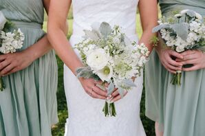 Ivory and Green Ranunculus Bouquets