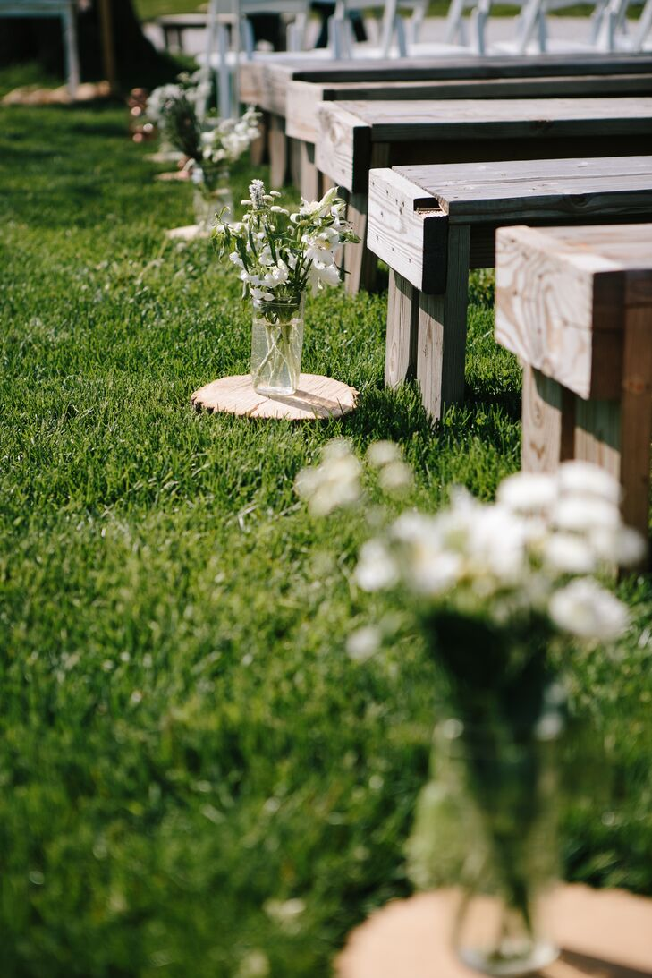 Bouquets in Mason Jars Ceremony Details