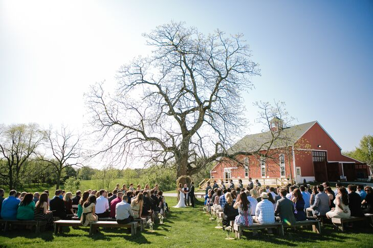 """It was a beautiful, sunny Spring day and we were able to have the perfect simple outdoor wedding,"" Amy says of her ceremony."