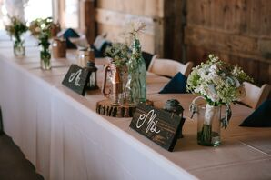 Wooden Accents  and Lanterns on Head Table