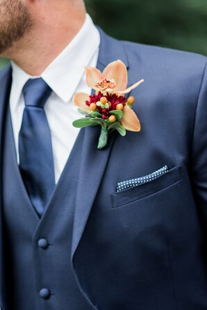 Rusic Boutonniere of Wildflowers and Leaves