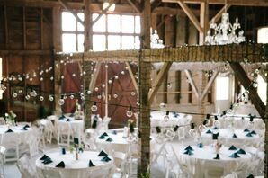 String Lights for Barn Reception