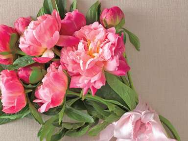 Pink peony bouquet wrapped with pink hand dip dyed silk ribbon