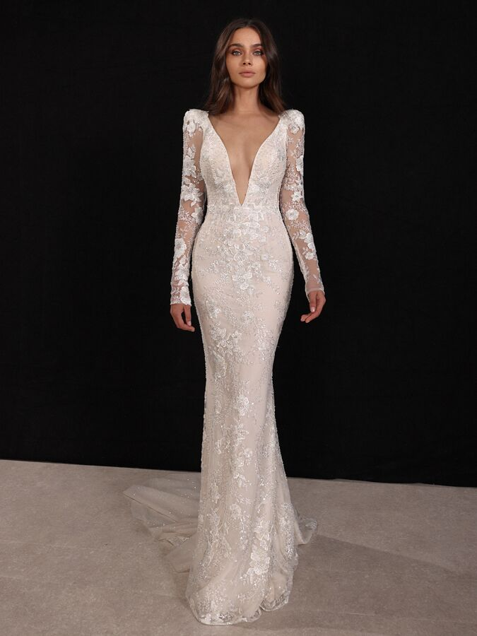Gala by Galia Lahav blush sheath wedding dress with long sleeves