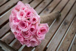 DIY Pink Rose Bouquet and Burlap Wrap