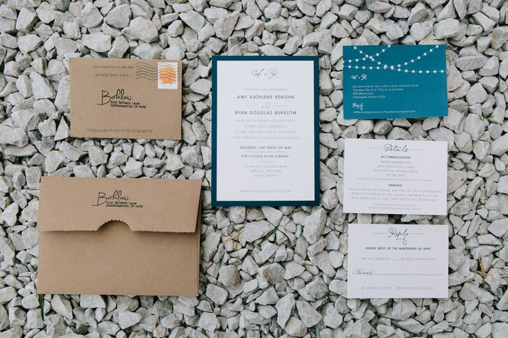 "A friend of Amy and Ryan designed the navy and ivory wedding invitations with a personal touch. ""My favorite part was that we used the same unique wording from my parents' wedding invitation,"" Amy says."