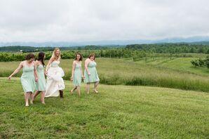 Pale Green Chiffon Bridesmaid Dresses