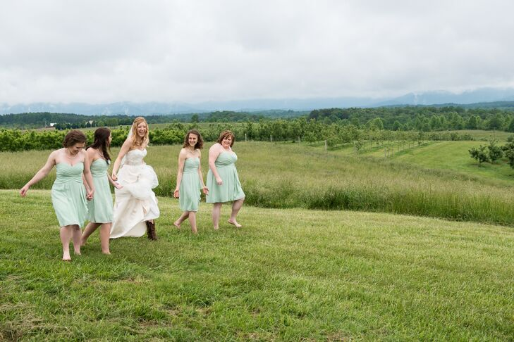 "Rachel and Alex wanted a natural and romantic color palette that reflected springtime in the mountains.  ""I found short, chiffon, pale green dresses for my bridesmaids that looked great next to my champagne colored skirt,"" says Rachel."