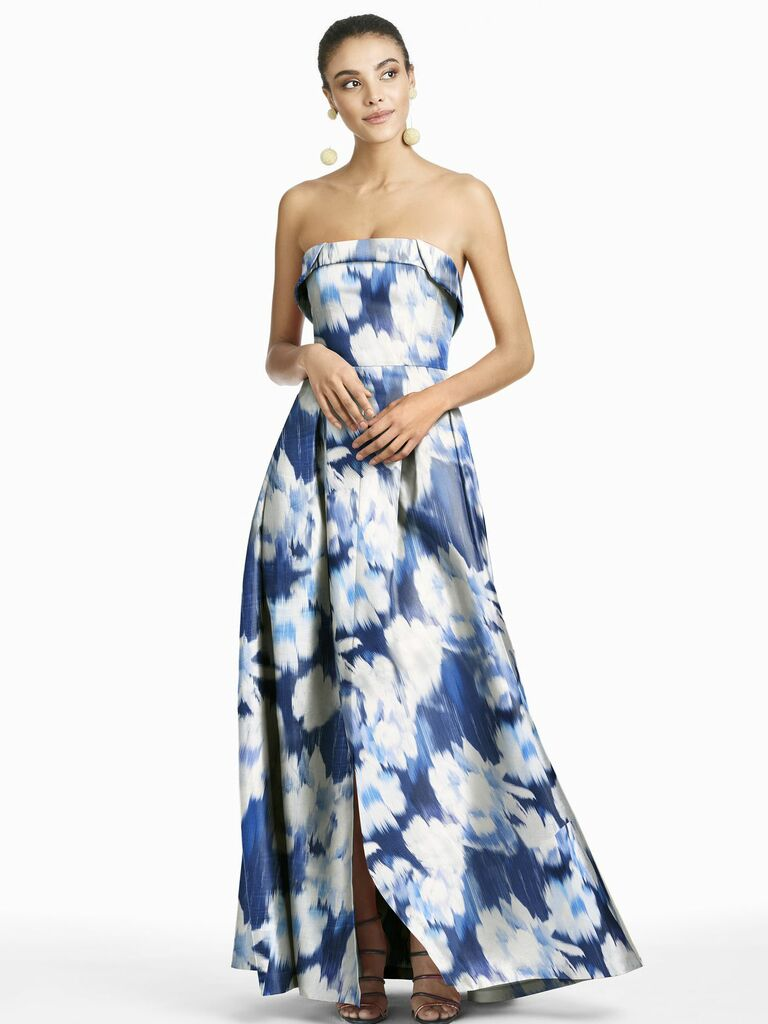 strapless gown with blue ikat print