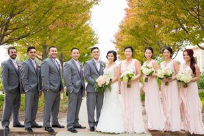 Classic Gray and Blush Wedding Party Suits and Dresses
