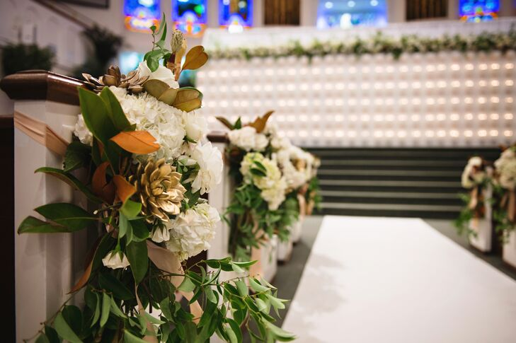 White and Gold Aisle Floral Decorations