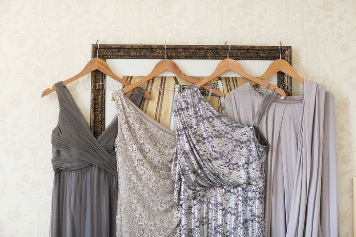 """The bridesmaids all picked out their own gray palette floor length dress,"" Emily says."
