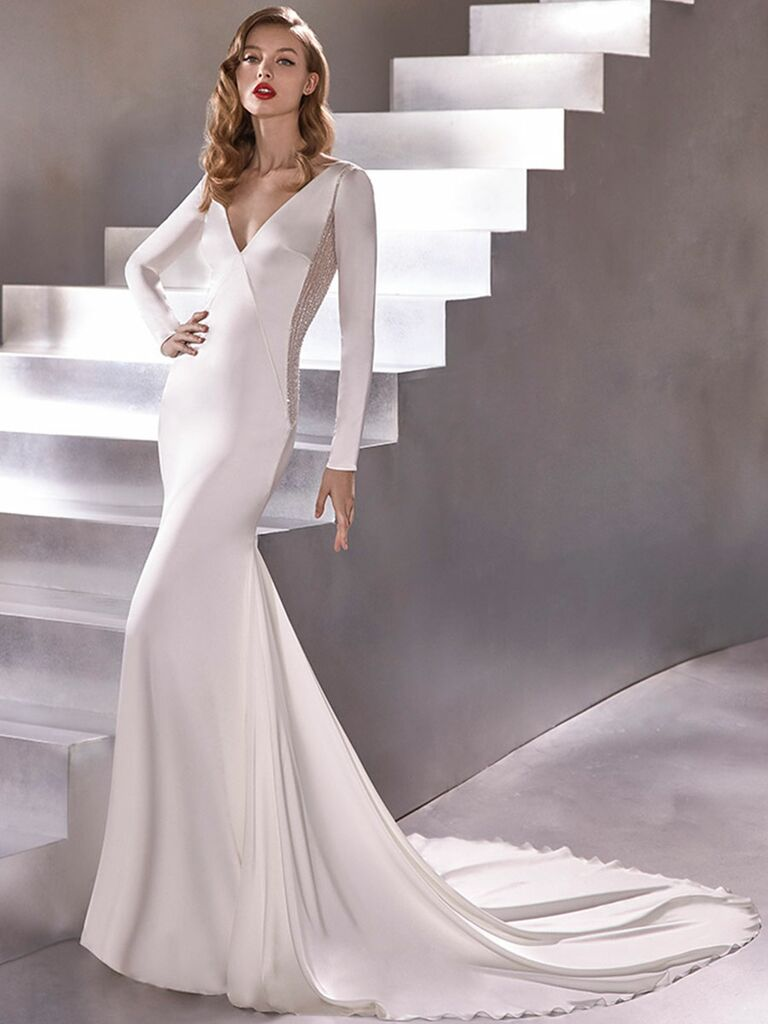 Atelier Provonias wedding dress long-sleeve trumpet gown with sparkly back