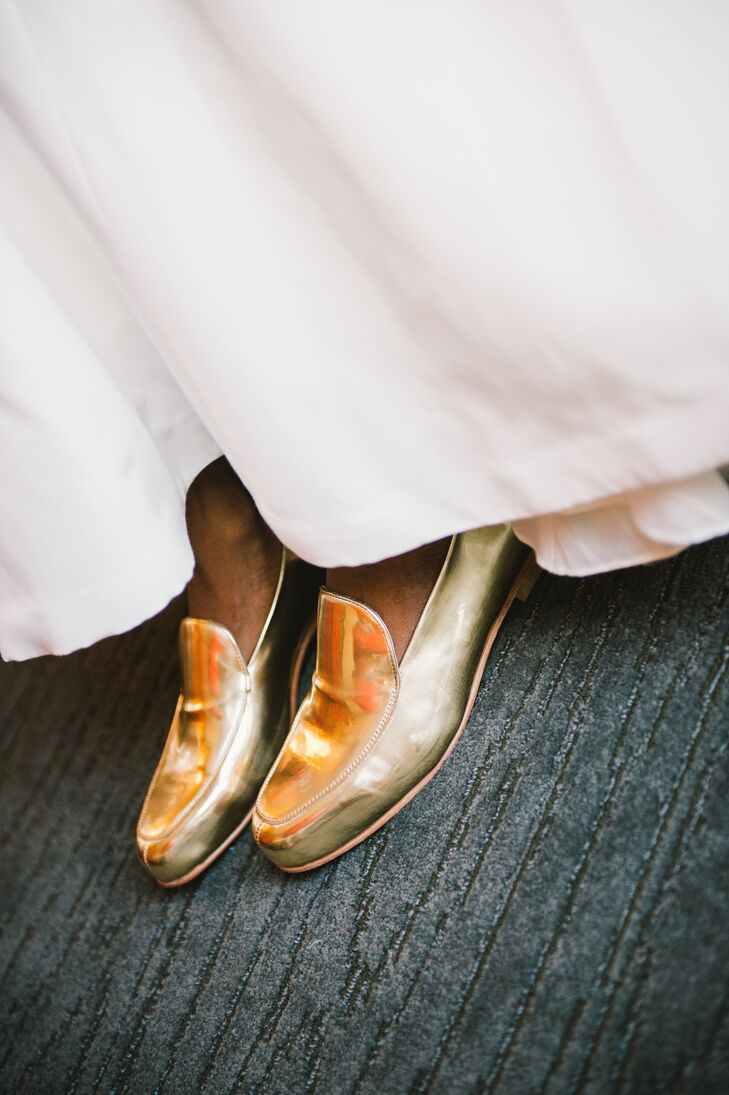 Ericka wore gold metallic loafers for comfortable glamour on her wedding day.
